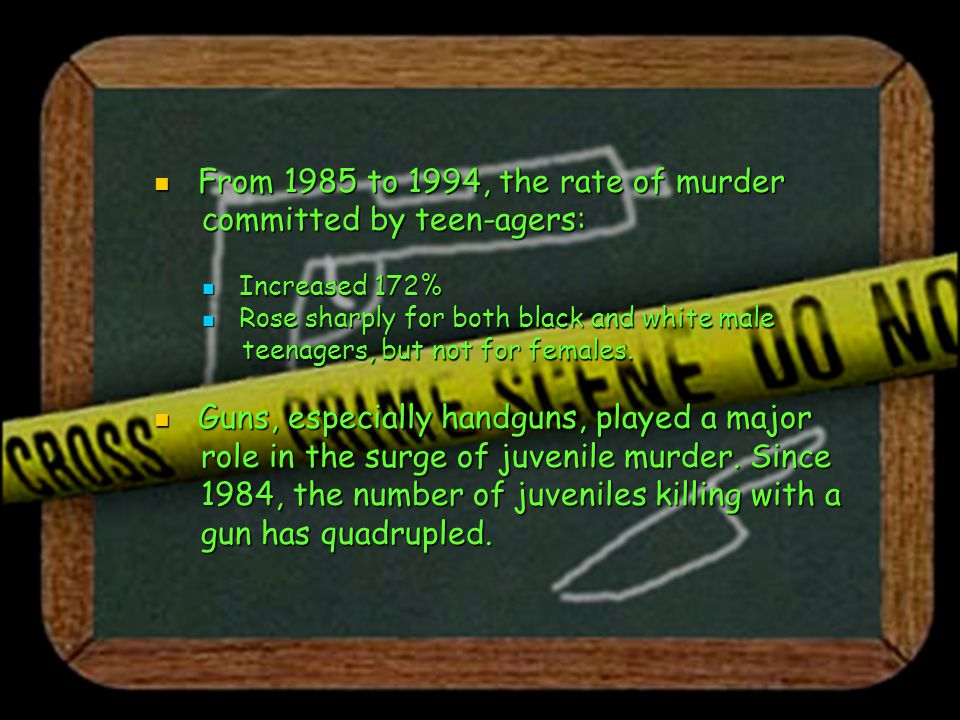 Most significant finding of the Most significant finding of the report report Even if the PER-CAPITA RATE of teen homicide REMAINS THE SAME, the number of 14- to 17-year-olds who will commit murder should INCREASE to nearly 5,000 annually.