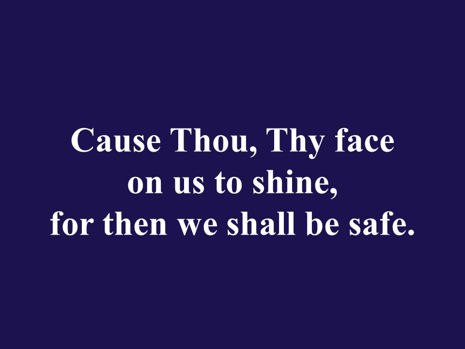 Cause Thou, Thy face on us to shine, for then we shall be safe.