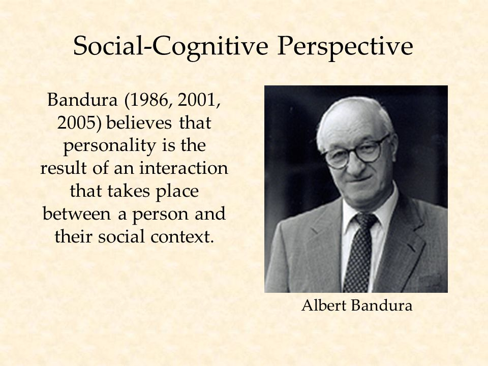 Social-Cognitive Perspective Bandura (1986, 2001, 2005) believes that personality is the result of an interaction that takes place between a person and their social context.
