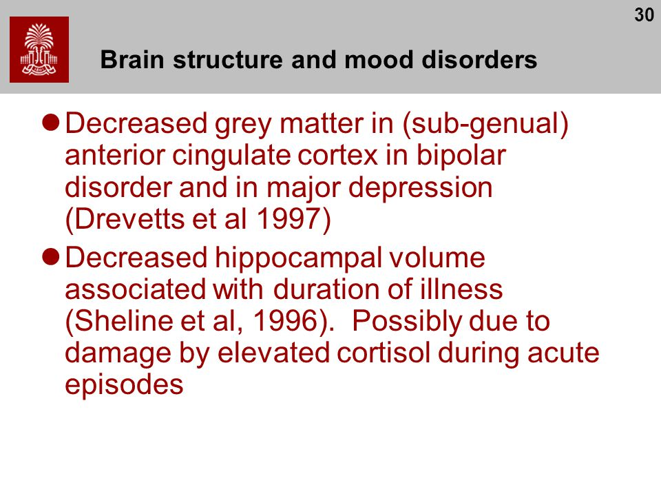 30 Brain structure and mood disorders Decreased grey matter in (sub-genual) anterior cingulate cortex in bipolar disorder and in major depression (Drevetts et al 1997) Decreased hippocampal volume associated with duration of illness (Sheline et al, 1996).