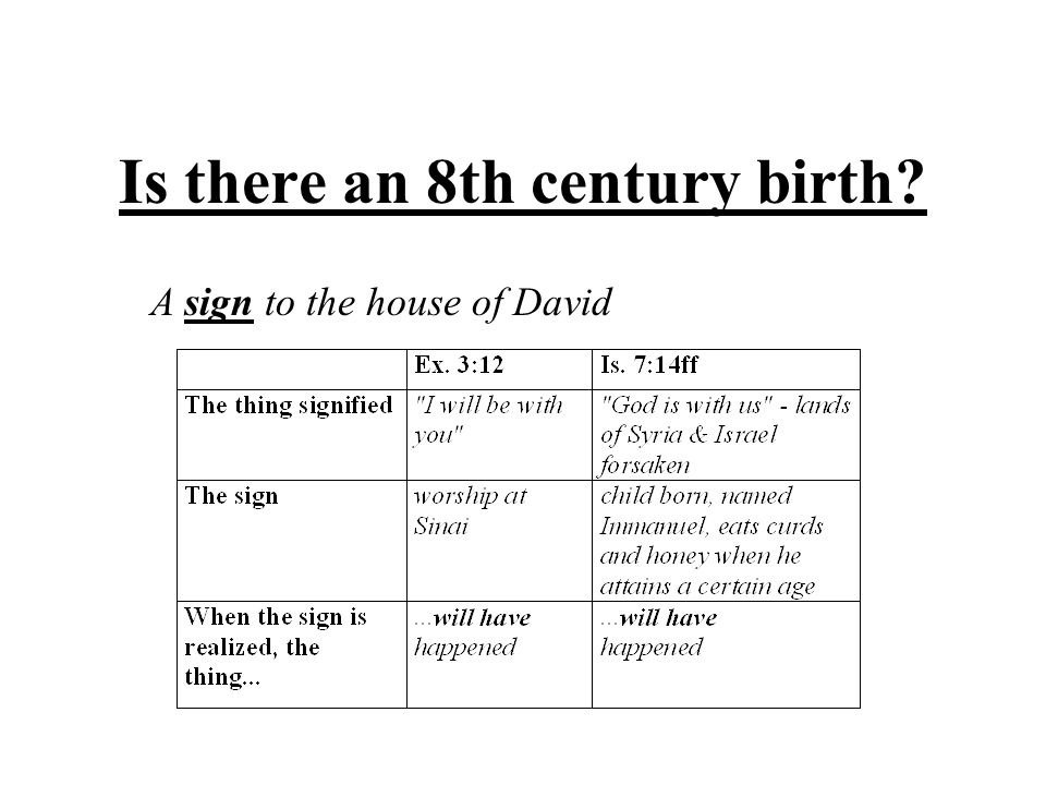 Is there an 8th century birth? A sign to the house of David