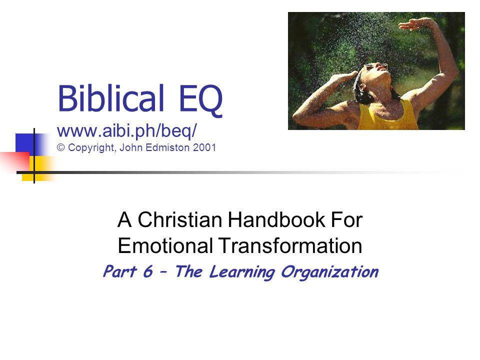 Biblical EQ www.aibi.ph/beq/ © Copyright, John Edmiston 2001 A Christian Handbook For Emotional Transformation Part 6 – The Learning Organization