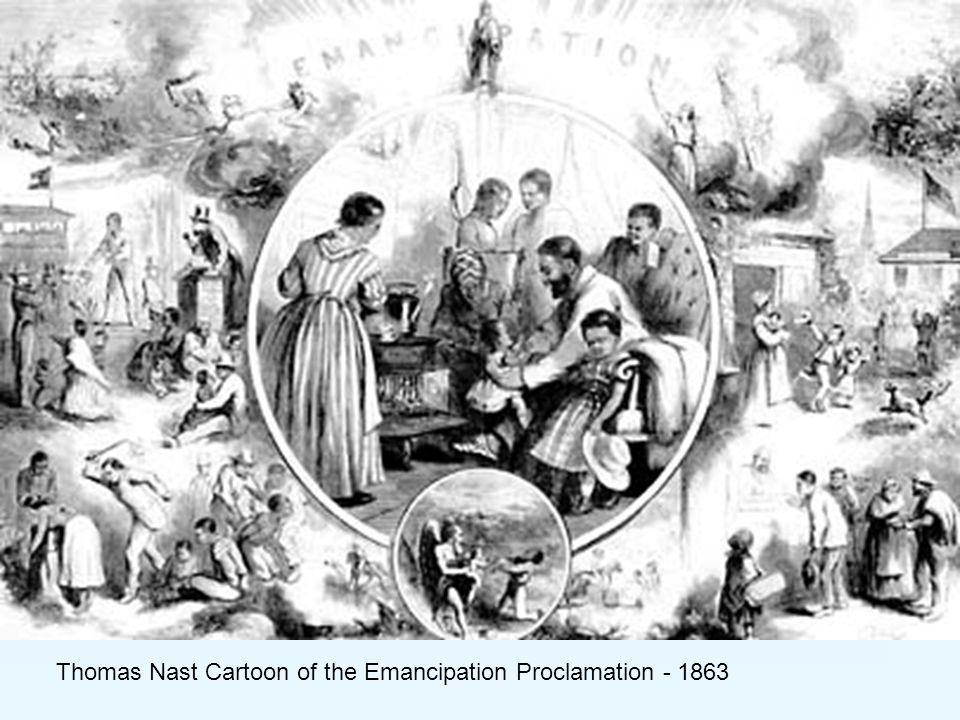 Thomas Nast Cartoon of the Emancipation Proclamation - 1863