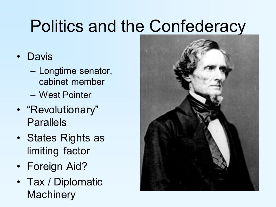 Politics and the Confederacy Davis –Longtime senator, cabinet member –West Pointer Revolutionary Parallels States Rights as limiting factor Foreign Aid.
