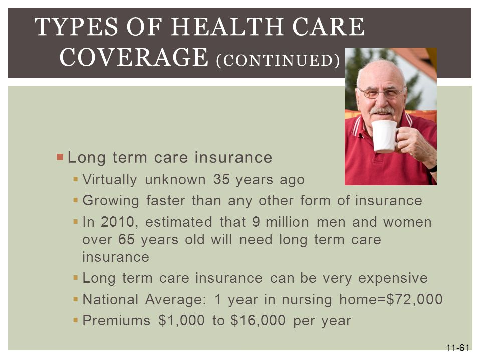  Long term care insurance  Virtually unknown 35 years ago  Growing faster than any other form of insurance  In 2010, estimated that 9 million men