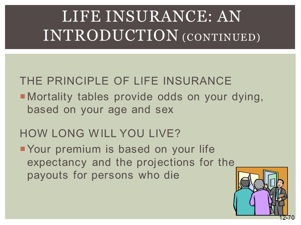 THE PRINCIPLE OF LIFE INSURANCE  Mortality tables provide odds on your dying, based on your age and sex HOW LONG WILL YOU LIVE?  Your premium is bas