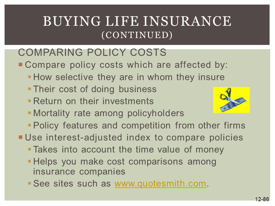 COMPARING POLICY COSTS  Compare policy costs which are affected by:  How selective they are in whom they insure  Their cost of doing business  Ret
