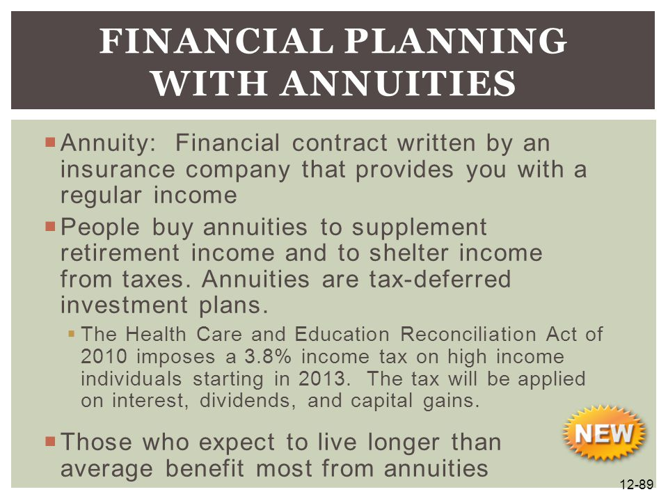  Annuity: Financial contract written by an insurance company that provides you with a regular income  People buy annuities to supplement retirement