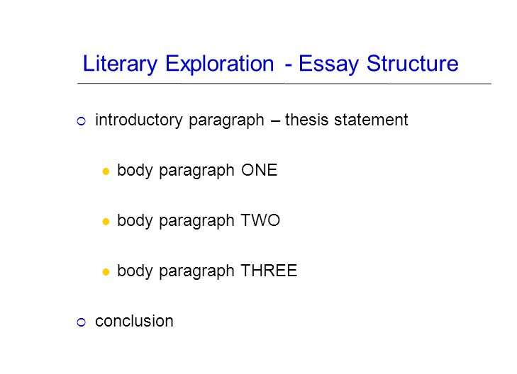 Literary Exploration - Essay Structure  introductory paragraph – thesis statement body paragraph ONE body paragraph TWO body paragraph THREE  conclu