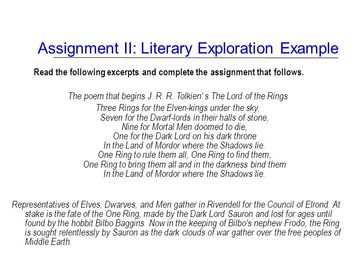 Assignment II: Literary Exploration Example Read the following excerpts and complete the assignment that follows. The poem that begins J. R. R. Tolkie