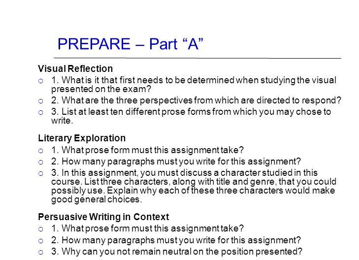 """PREPARE – Part """"A"""" Visual Reflection  1. What is it that first needs to be determined when studying the visual presented on the exam?  2. What are t"""
