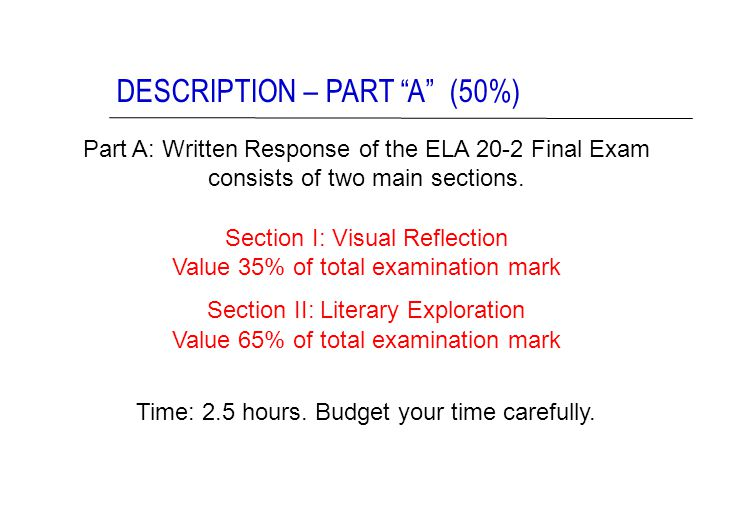 """DESCRIPTION – PART """"A"""" (50%)  Part A: Written Response of the ELA 20-2 Final Exam consists of two main sections. Section I: Visual Reflection Value 3"""