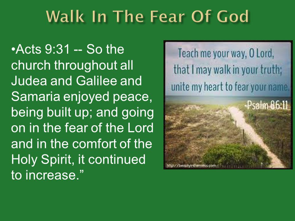 Acts 9:31 -- So the church throughout all Judea and Galilee and Samaria enjoyed peace, being built up; and going on in the fear of the Lord and in the comfort of the Holy Spirit, it continued to increase.
