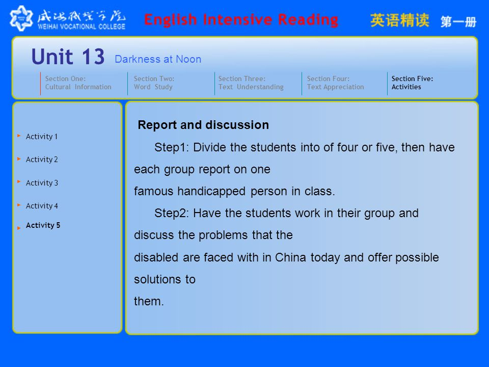 Darkness at Noon Unit 13 Report and discussion Step1: Divide the students into of four or five, then have each group report on one famous handicapped person in class.