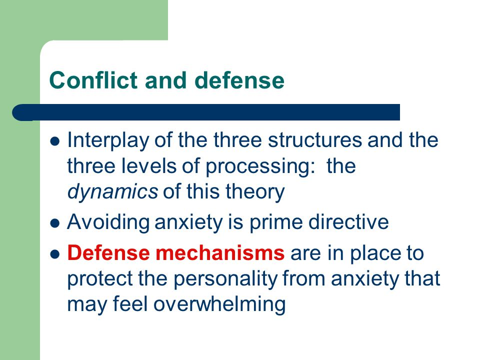 Defense mechanisms Defense mechanisms work in two ways: helps to maintain our self respect Helps to overcome big traumas with less damage