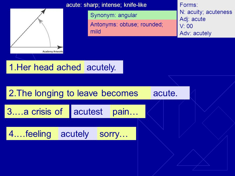 acute: sharp; intense; knife-like; acutely.1.Her head ached acutestpain…3.…a crisis of acutelysorry…4.…feeling acute.2.The longing to leave becomes Synonym: angular Antonyms: obtuse; rounded; mild Forms: N: acuity; acuteness Adj: acute V: 00 Adv: acutely