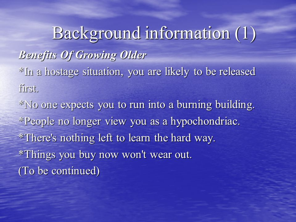 Background information (2) *You can eat dinner at 4:00.