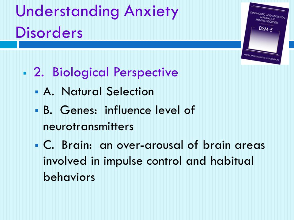 Understanding Anxiety Disorders  2. Biological Perspective  A. Natural Selection  B. Genes: influence level of neurotransmitters  C. Brain: an ove