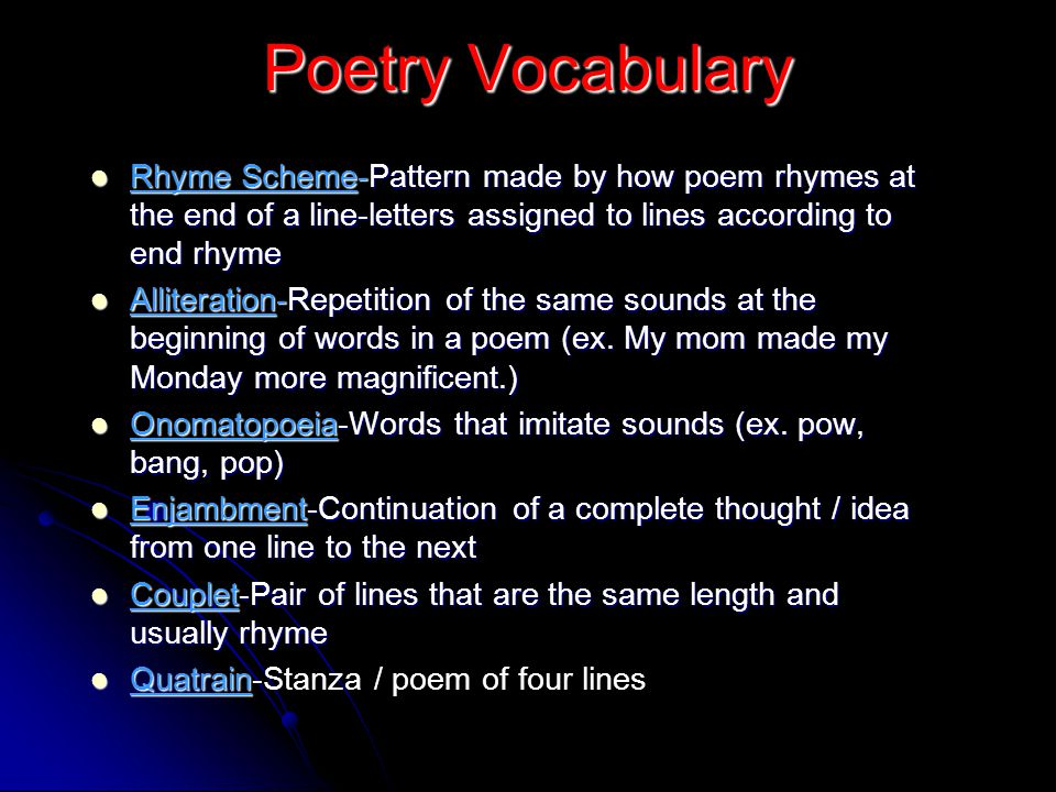 Poetry Vocabulary Consonance-Repetition of consonants in a line-not at the beginning (ex.