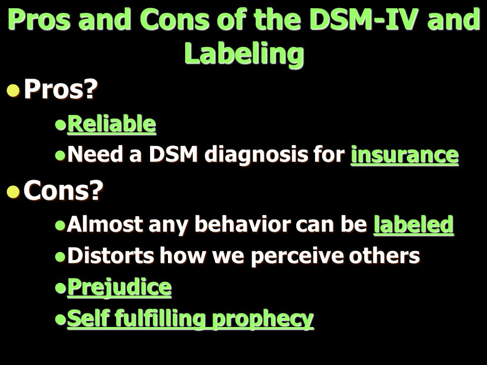 Pros and Cons of the DSM-IV and Labeling Pros. Pros.