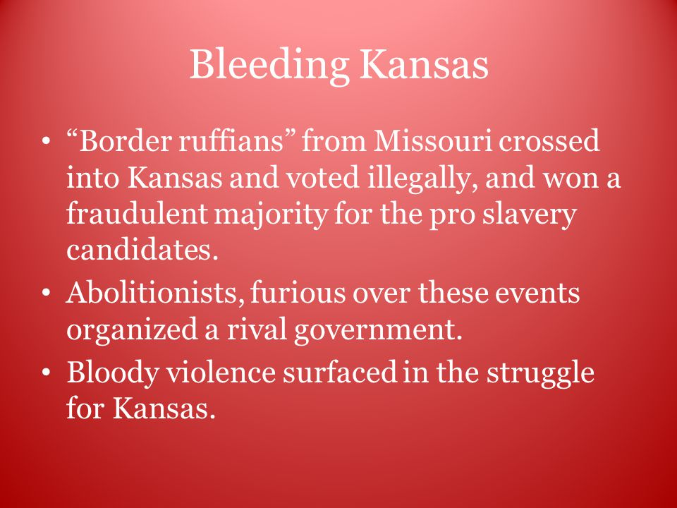 Bleeding Kansas Border ruffians from Missouri crossed into Kansas and voted illegally, and won a fraudulent majority for the pro slavery candidates.