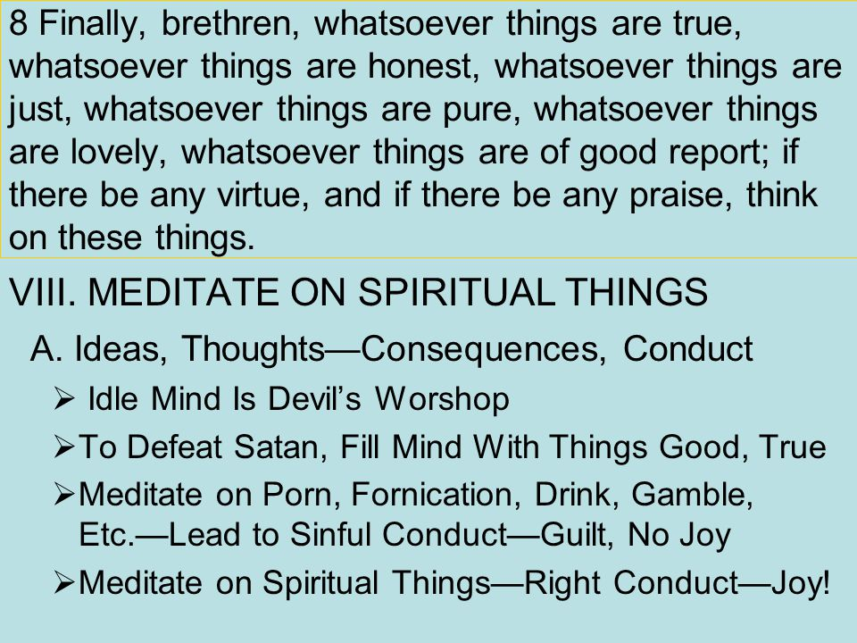 8 Finally, brethren, whatsoever things are true, whatsoever things are honest, whatsoever things are just, whatsoever things are pure, whatsoever things are lovely, whatsoever things are of good report; if there be any virtue, and if there be any praise, think on these things.