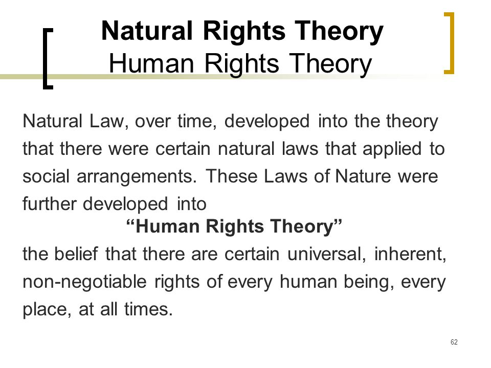 62 Natural Rights Theory Human Rights Theory Natural Law, over time, developed into the theory that there were certain natural laws that applied to social arrangements.