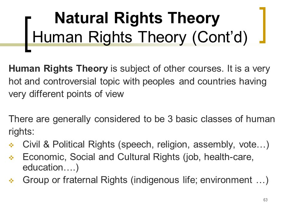 63 Natural Rights Theory Human Rights Theory (Cont'd) Human Rights Theory is subject of other courses.