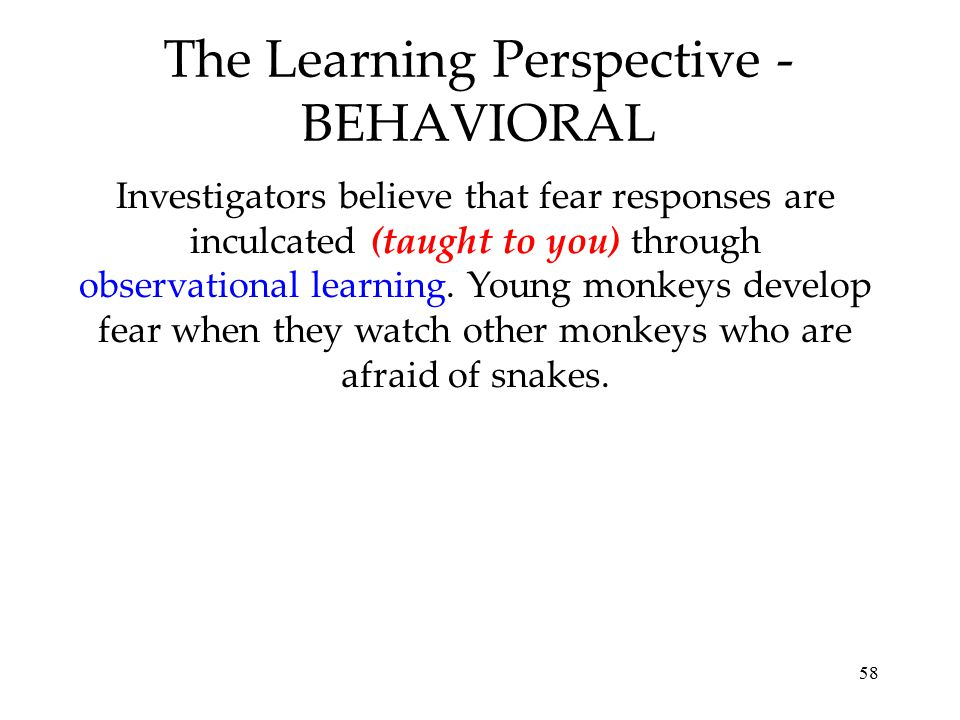 58 The Learning Perspective - BEHAVIORAL Investigators believe that fear responses are inculcated (taught to you) through observational learning. Youn