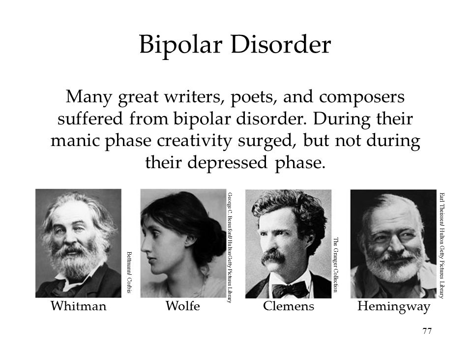 77 Bipolar Disorder Many great writers, poets, and composers suffered from bipolar disorder. During their manic phase creativity surged, but not durin