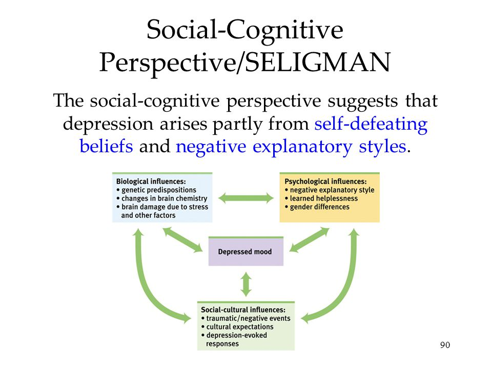 90 Social-Cognitive Perspective/SELIGMAN The social-cognitive perspective suggests that depression arises partly from self-defeating beliefs and negat