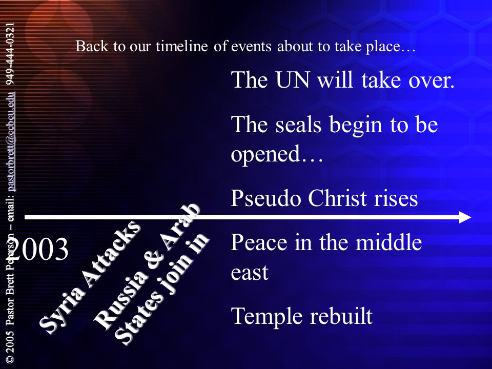 © 2005 Pastor Brett Peterson – email: pastorbrett@ccbcu.edu 949-444-0321 pastorbrett@ccbcu.edu Back to our timeline of events about to take place… 2003 Syria Attacks Russia & Arab States join in The UN will take over.
