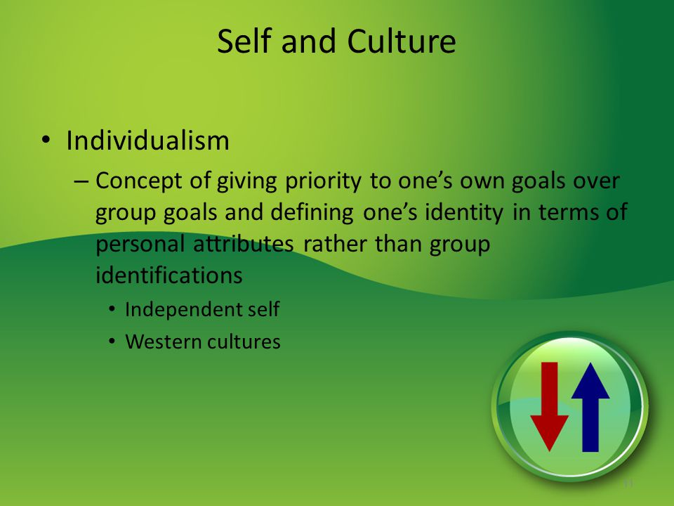 Self and Culture Individualism – Concept of giving priority to one's own goals over group goals and defining one's identity in terms of personal attri