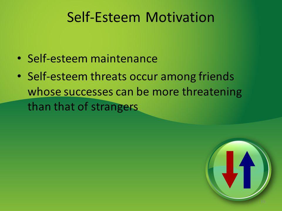 Self-Esteem Motivation Self-esteem maintenance Self-esteem threats occur among friends whose successes can be more threatening than that of strangers 19
