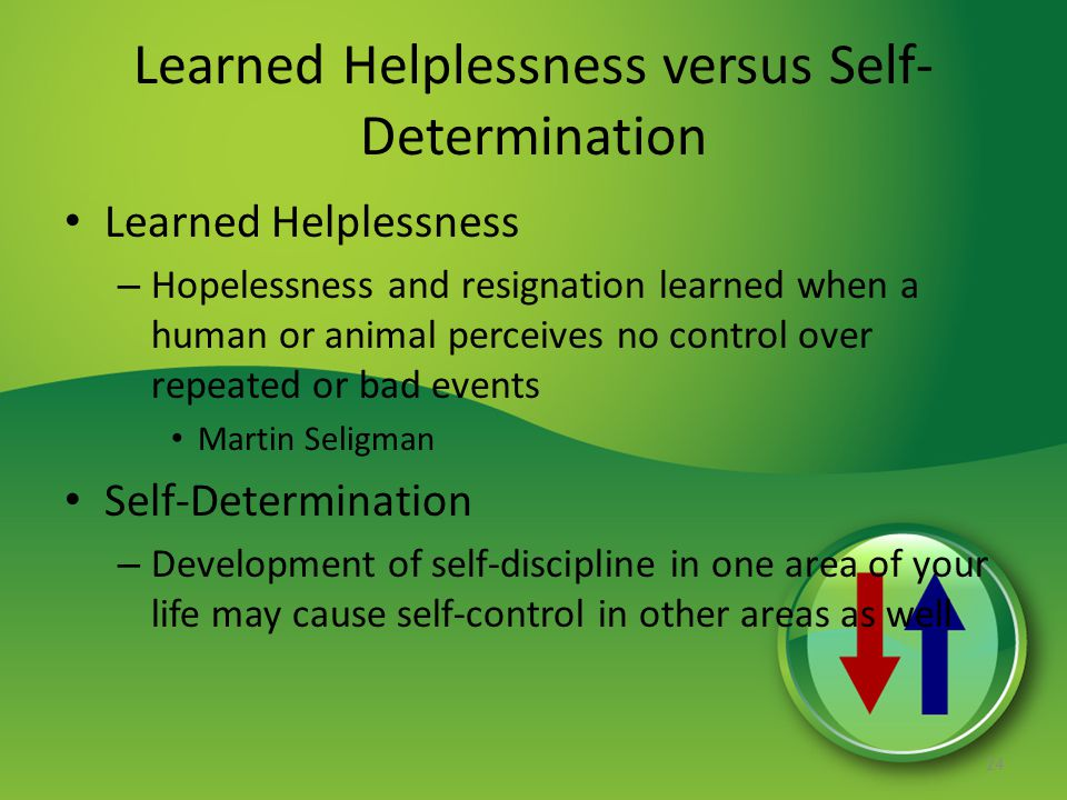 Learned Helplessness versus Self- Determination Learned Helplessness – Hopelessness and resignation learned when a human or animal perceives no control over repeated or bad events Martin Seligman Self-Determination – Development of self-discipline in one area of your life may cause self-control in other areas as well 24