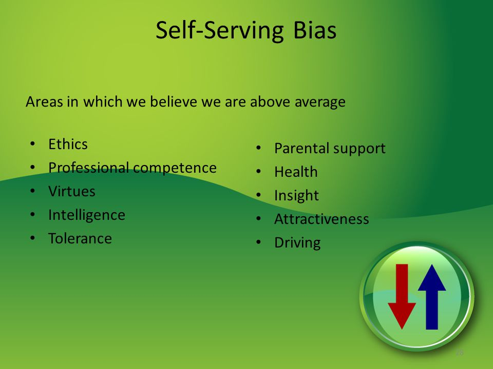 Self-Serving Bias Areas in which we believe we are above average Ethics Professional competence Virtues Intelligence Tolerance Parental support Health Insight Attractiveness Driving 28