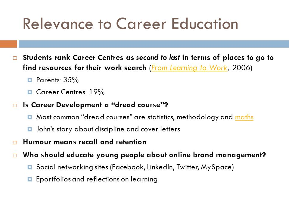 Relevance to Career Education  Students rank Career Centres as second to last in terms of places to go to find resources for their work search (From Learning to Work, 2006)From Learning to Work  Parents: 35%  Career Centres: 19%  Is Career Development a dread course .