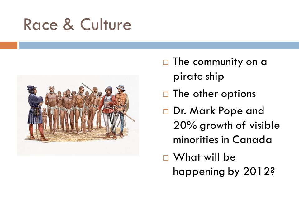 Race & Culture  The community on a pirate ship  The other options  Dr.