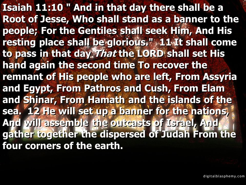 Isaiah 11:10 And in that day there shall be a Root of Jesse, Who shall stand as a banner to the people; For the Gentiles shall seek Him, And His resting place shall be glorious. 11 It shall come to pass in that day That the LORD shall set His hand again the second time To recover the remnant of His people who are left, From Assyria and Egypt, From Pathros and Cush, From Elam and Shinar, From Hamath and the islands of the sea.