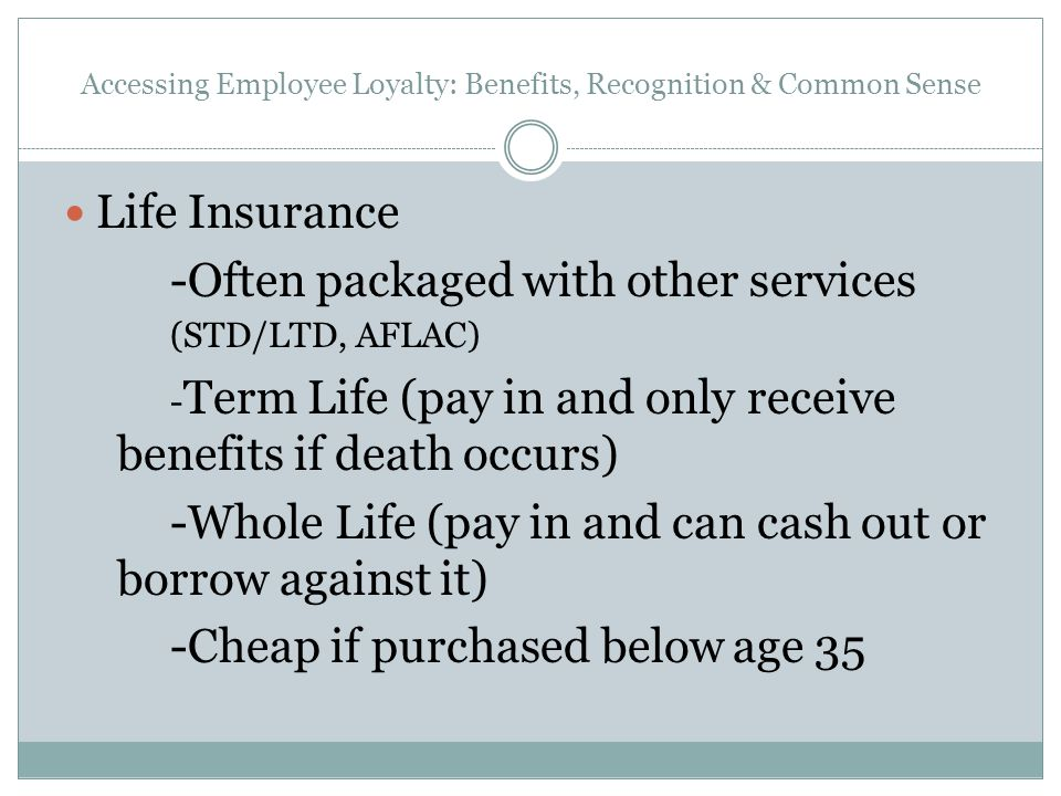 Accessing Employee Loyalty: Benefits, Recognition & Common Sense Life Insurance -Often packaged with other services (STD/LTD, AFLAC) - Term Life (pay