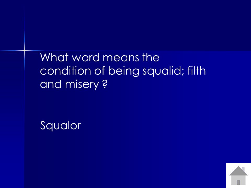 What word means the condition of being squalid; filth and misery ? Squalor