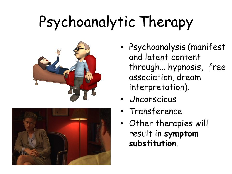 Psychoanalytic Therapy Psychoanalysis (manifest and latent content through… hypnosis, free association, dream interpretation).