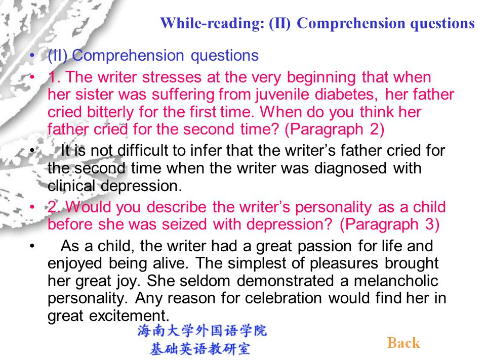 (II) Comprehension questions 1.
