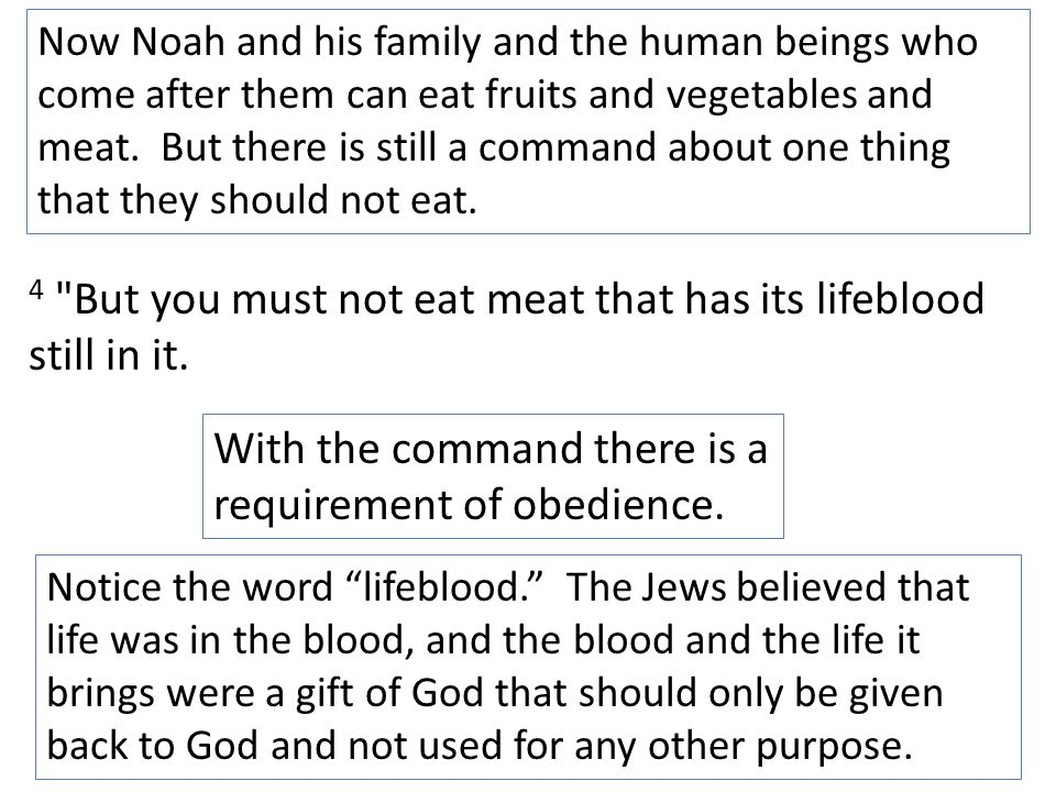 4 But you must not eat meat that has its lifeblood still in it.