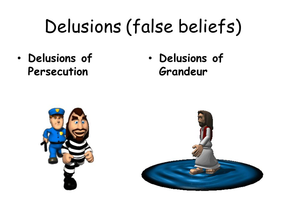 Delusions (false beliefs) Delusions of Persecution Delusions of Grandeur