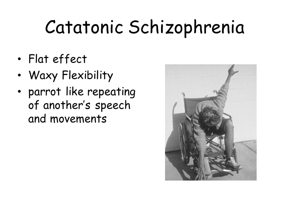 Catatonic Schizophrenia Flat effect Waxy Flexibility parrot like repeating of another's speech and movements