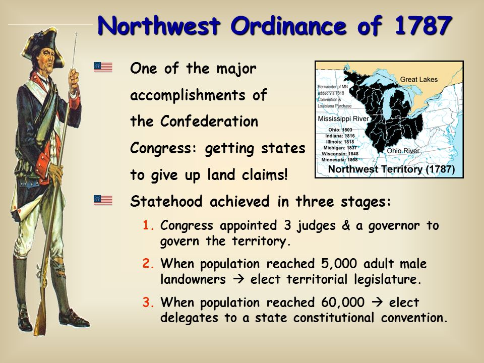 Northwest Ordinance of 1787 One of the major accomplishments of the Confederation Congress: getting states to give up land claims.