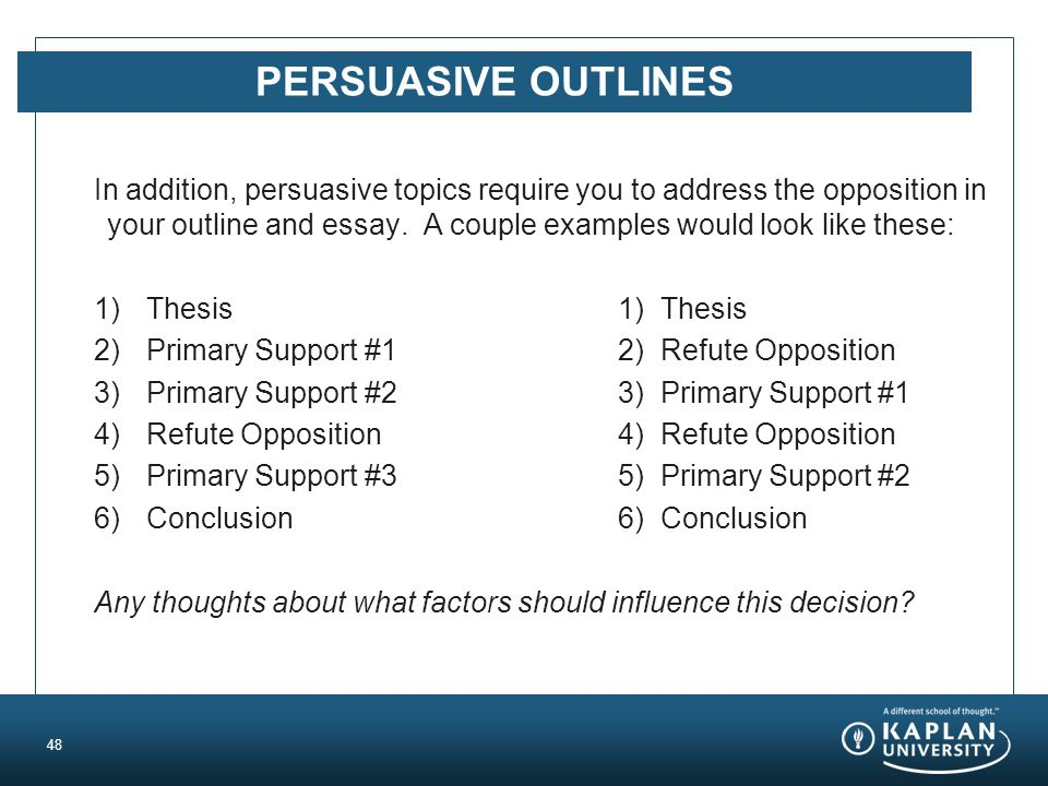 PERSUASIVE OUTLINES In addition, persuasive topics require you to address the opposition in your outline and essay.