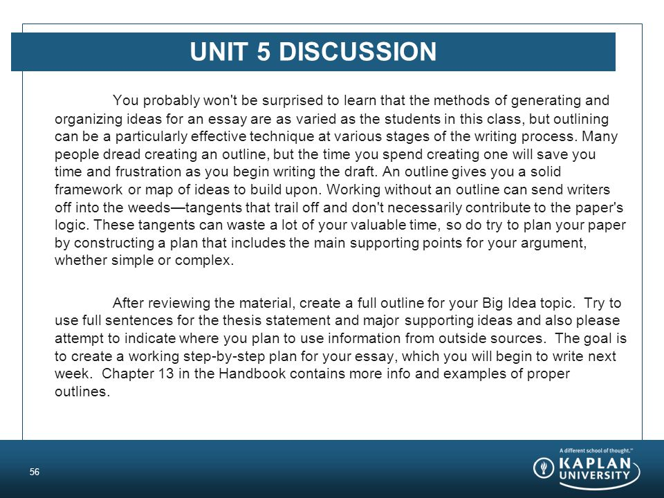 UNIT 5 DISCUSSION You probably won t be surprised to learn that the methods of generating and organizing ideas for an essay are as varied as the students in this class, but outlining can be a particularly effective technique at various stages of the writing process.