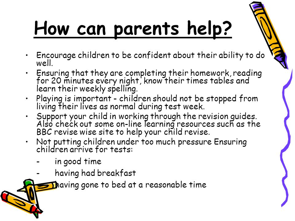 How can parents help? Encourage children to be confident about their ability to do well. Ensuring that they are completing their homework, reading for